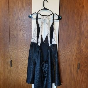 Cacique Intimates & Sleepwear - Cacique satiny black and white lace nighty